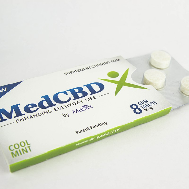 MedCBDX: CBD Gum 8-Pack (80mg CBD) 10mg/ea Cool Mint