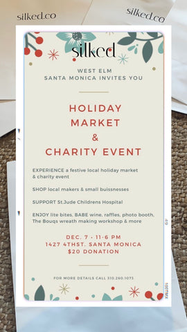 Silked Silk Pillowcase Partners with West Elm Santa Monica California to give back to St. Jude's children's hospital