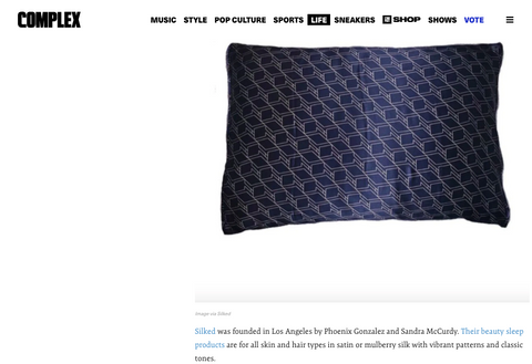 Complex Magazine The Black-Owned Shopping Guide 2020 features Silked Silk Pillowcase Made in USA #1 best seller