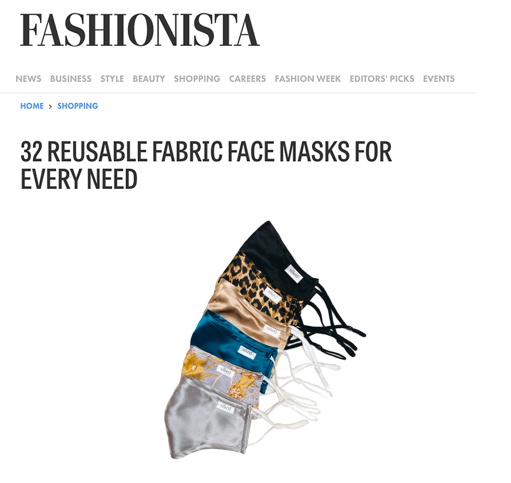 Fashionista Magazine | Silked - 32 REUSABLE FABRIC FACE MASKS FOR EVERY NEED