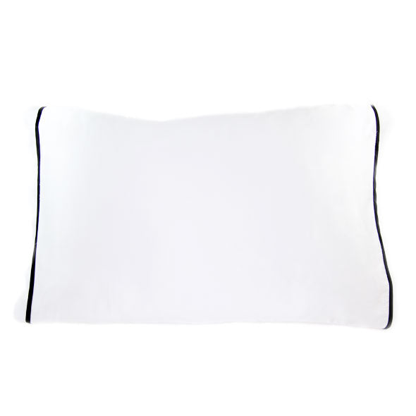 Silked Silk Pillowcase Pillow Sleeve White with Black Trim for Hair and Skin