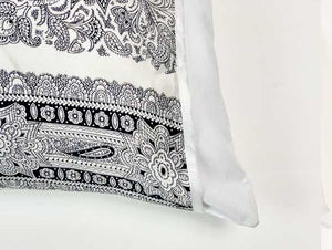 Silked Silk Pillowcase Pillow Sleeve Black and White Paisley 100% Silk #1 Best Seller Made in USA Hotel Travel Beauty Product