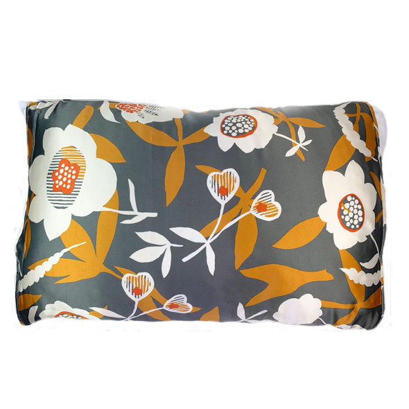Silked Satin Pillowcase Pillow Sleeve Grey and Mustard Floral