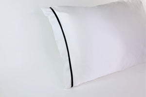 White Silk Pillow Sleeve w/Black Trim