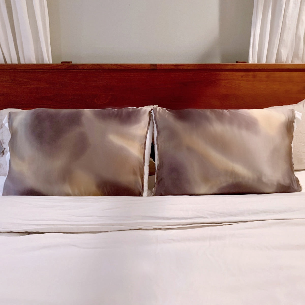 Bronze Grey and Champagne Tie-Dye Silk Pillow Sleeve