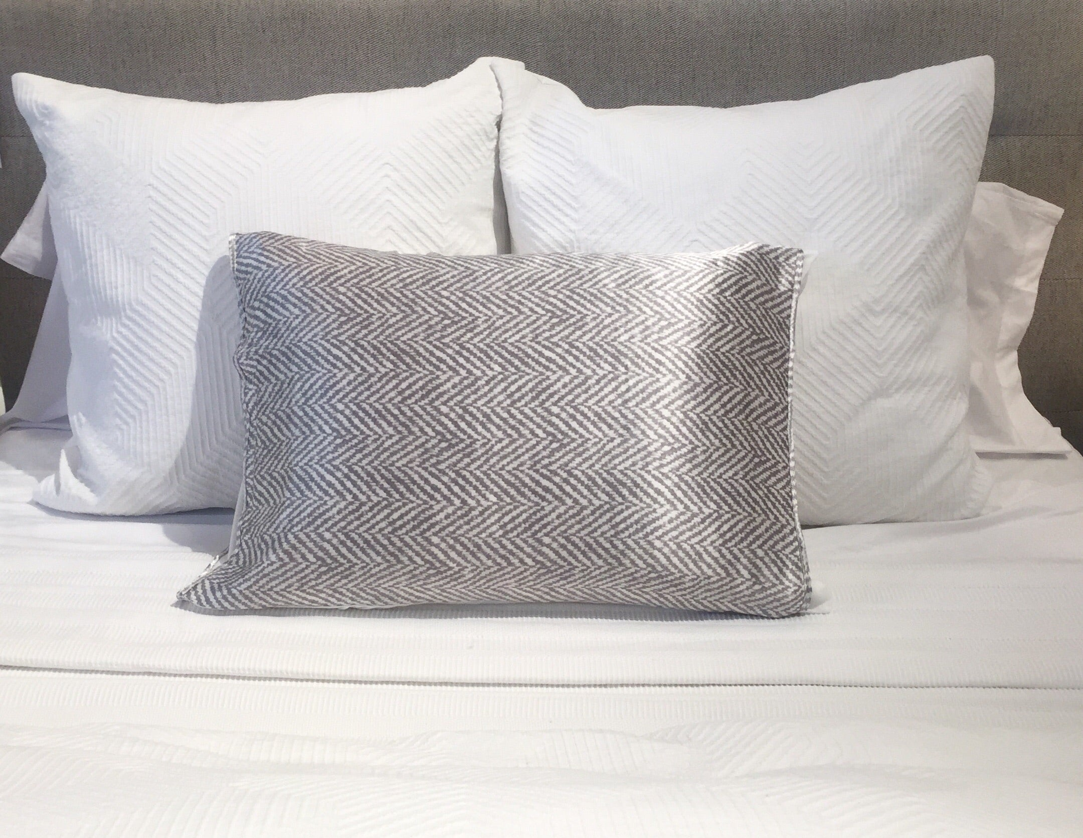 Grey & White Chevron Silk Pillow Sleeve