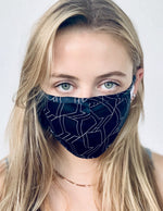 Midnight GeoBlue Washable Silk Face Covering Mask- Clearance- 40% off with code: GEO40!