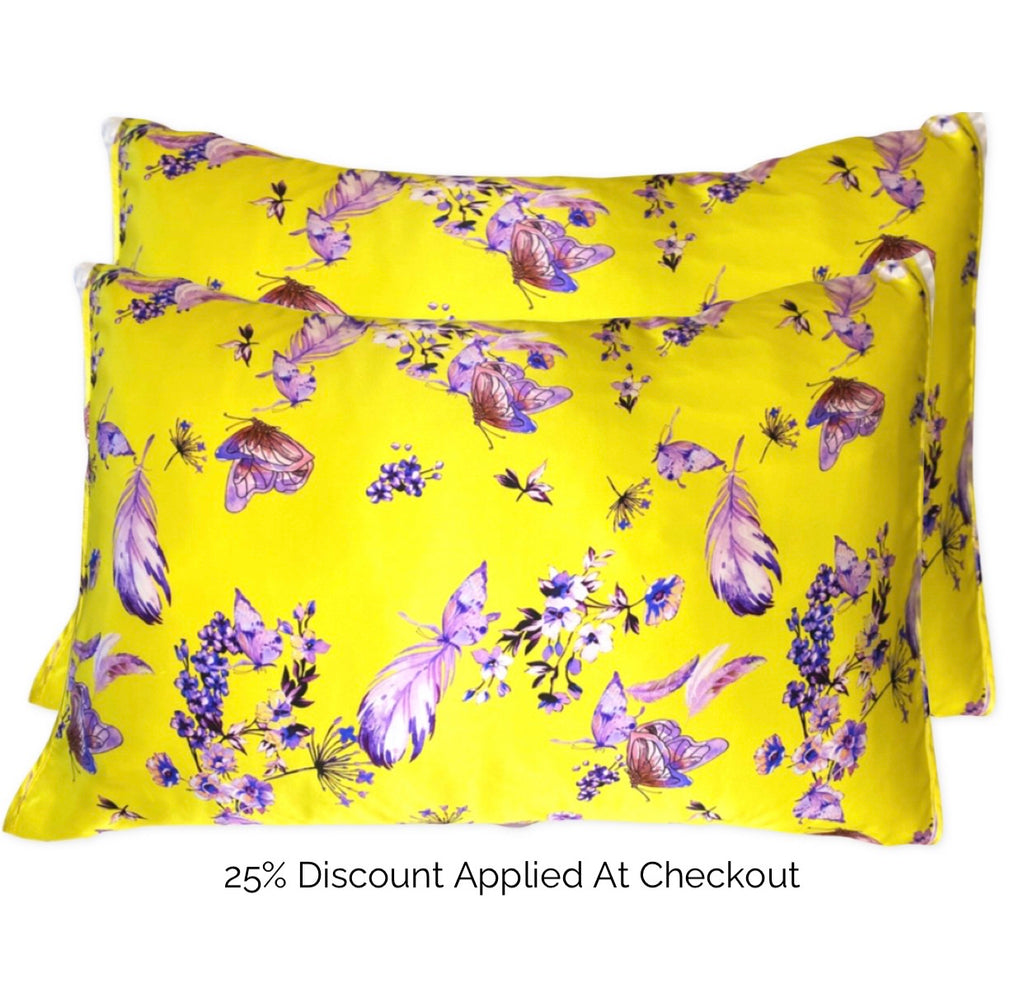 Yellow and Purple Butterfly Silk Pillow Sleeve Pair