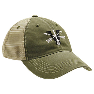 5th Special Forces Group V Black and Gray Ball Cap - MESH