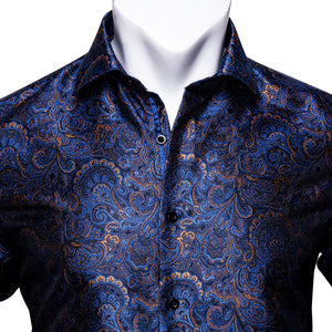 New Shinning Blue Paisley Silk Men's Shirt