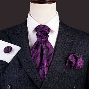 Deep Purple Paisley Silk Ascot Cravat Pocket Square Cufflinks Set