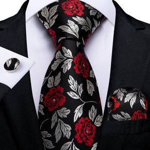 Silver Red Black Floral Men's Tie Pocket Square Cufflinks Set