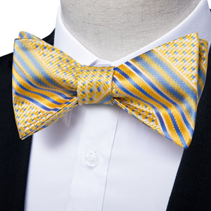 New Yellow Blue Striped Self-tied Bow Tie Pocket Square Cufflinks Set