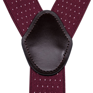 Burgundy Polka Dot Brace Clip-on Men's Suspender
