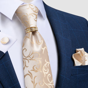 Classic Champagne Floral Silk Fabric Tie Ring Pocket Square Cufflinks Set