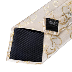 New Champagne Silver Floral Tie Pocket Square Cufflinks Set