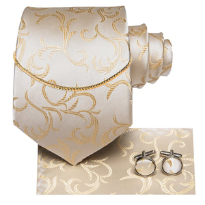 Champagne Floral Silk Fabric Men's Tie Hanky Cufflinks Set with Tie Chain