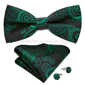 Black Green Paisley Men's Pre-tied Bowtie Pocket Square Cufflinks Set