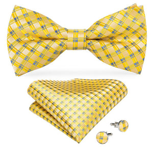 Light Yellow Blue Plaid Men's Pre-tied Bowtie Pocket Square Cufflinks Set