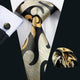 Black Yellow Novelty Silk Men's Tie Hanky Cufflinks Set