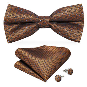 Brown Polka Dot Men's Pre-tied Bowtie Pocket Square Cufflinks Set