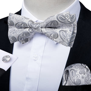 Silver Grey Paisley Men's Pre-tied Bowtie Pocket Square Cufflinks Set