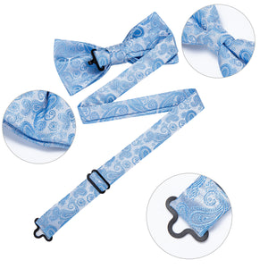 Sky Blue Paisley Men's Pre-tied Bowtie Pocket Square Cufflinks Set