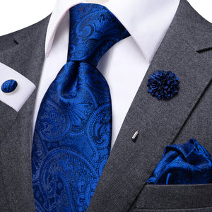 Deep Blue Paisley Men's Necktie Pocket Square Cufflinks Set with Lapel Pin