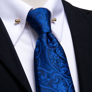 Dark Blue Paisley Men's Tie Hanky Cufflinks Set with Collar Pin
