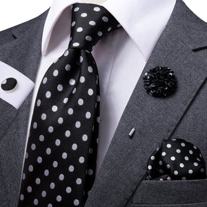 Classic Black White Polka Dot Men's Necktie Pocket Square Cufflinks Set with Lapel Pin