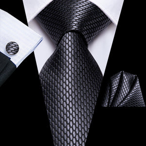 Grey Geometric Tie Pocket Square Cufflinks Set