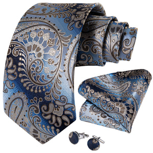Gradient Brown Blue Paisley Tie Pocket Square Cufflinks Set