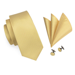 New Yellow Polka Dot Tie Ring Pocket Square Cufflinks Set