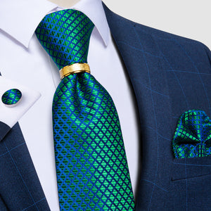Blue Green Plaid Tie Ring Pocket Square Cufflinks Set