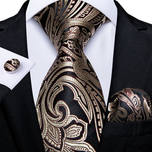 Classic Brown Paisley Tie Pocket Square Cufflinks Set