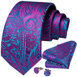 Purple Blue Paisley Tie Pocket Square Cufflinks Set