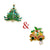 2PCS Set Ties2you Luxury Christmas Jingle Bell & Christmas Tree Gem Metal Lapel Pin