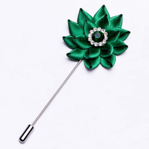 Ties2you Silk Gem Floral Lapel Pin