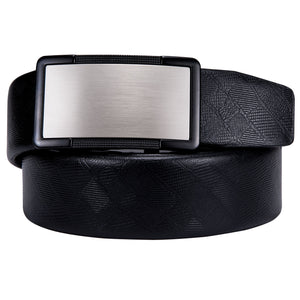Silver Surface Metal Buckle Genuine Leather Belt 43 inch to 63 inch