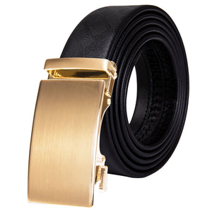 Golden Glossy Metal Buckle Genuine Leather Belt 43 inch to 63 inch