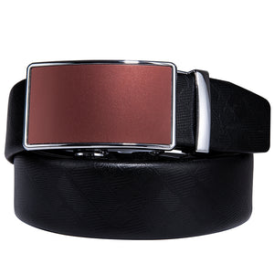 Silver Red Brown Glossy Metal Buckle Genuine Leather Belt 43 inch to 63 inch