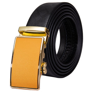 Golden Yellow Glossy Metal Buckle Genuine Leather Belt 43 inch to 63 inch
