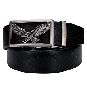 Silver Eagle Metal Buckle Genuine Leather Belt 43 inch to 63 inch