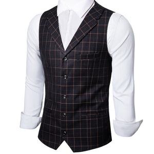 New Arrival Black Brown Plaid Jacquard Silk Men's Collar Vest