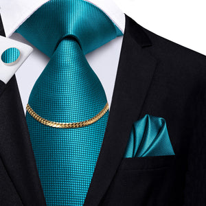Darkturquoise Green Plaid Silk Fabric Men's Tie Hanky Cufflinks Set with Tie Chain