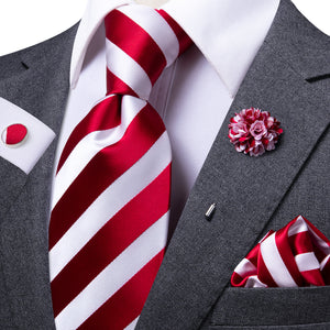 Classic White Red Striped Men's Necktie Pocket Square Cufflinks Set with Lapel Pin