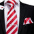 New Red White Striped Tie Pocket Square Cufflinks Set with Tie Clip