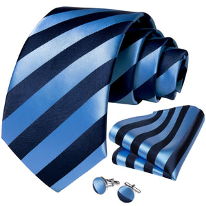 Blue Striped Tie Pocket Square Cufflinks Set