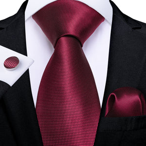 Maroon Red Solid Tie Pocket Square Cufflinks Set