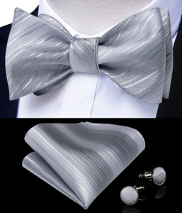 Silver Grey Striped Self-tied Silk Bow Tie Pocket Square Cufflinks Set with Lapel Pin